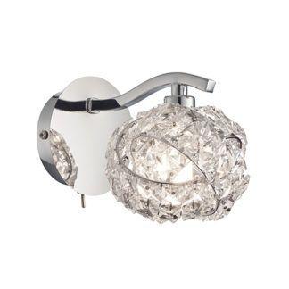 Efektowny kinkiet Talia - połyskujący klosz, srebrna podstawa, glamour