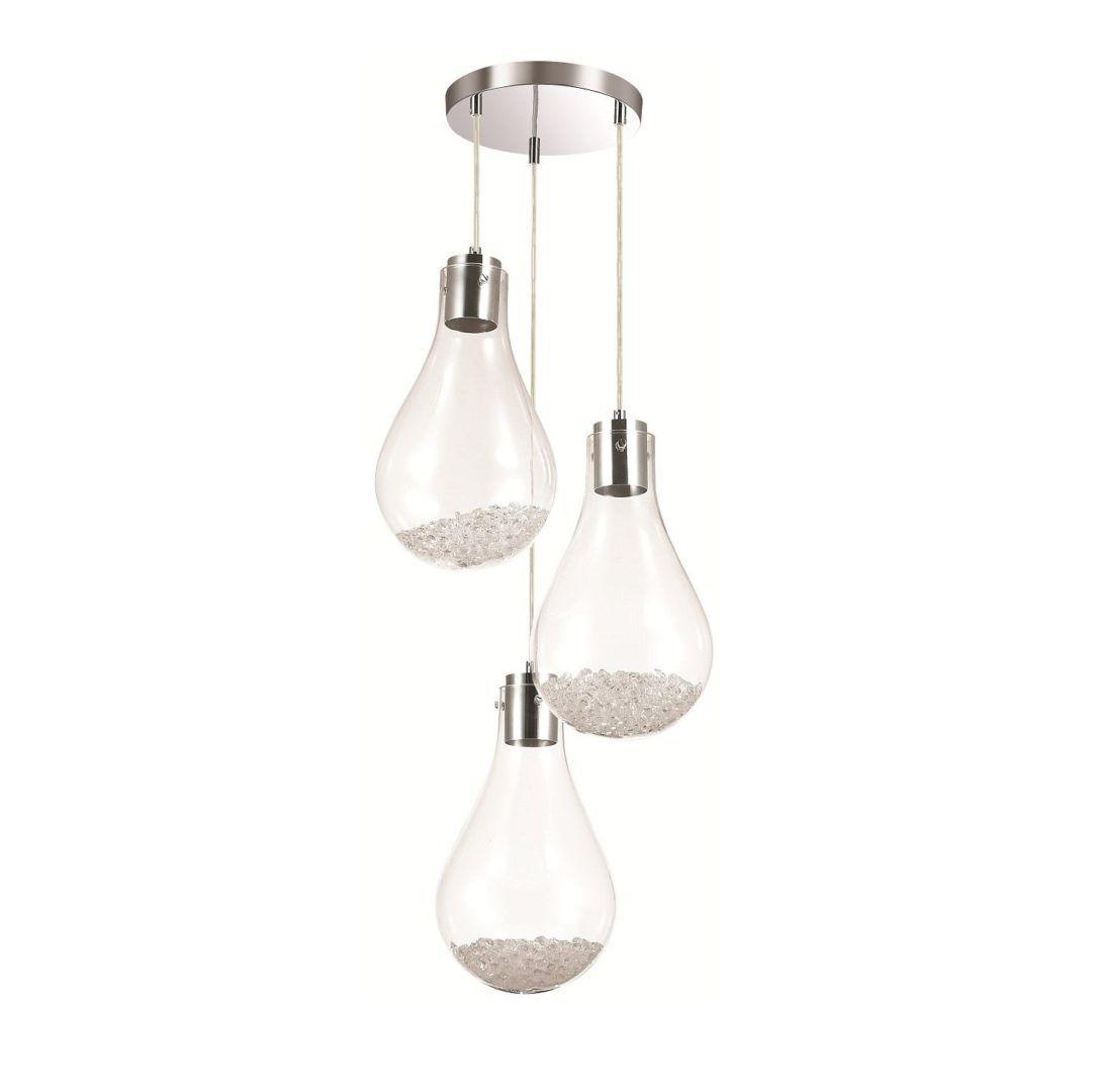szklana lampa wisząca żarówki z kryształkami