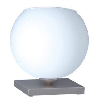 Szklana lampa stołowa Satin - biały klosz na satynowej podstawie