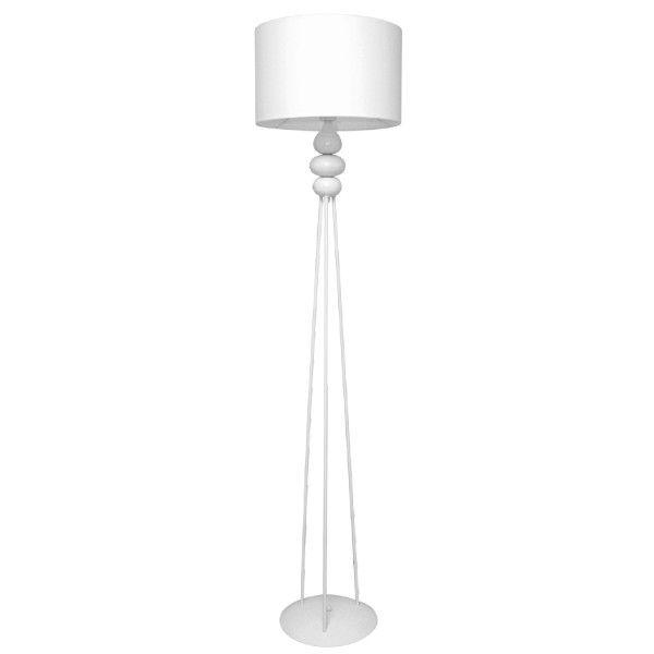 biała lampa podłogowa z abażurem