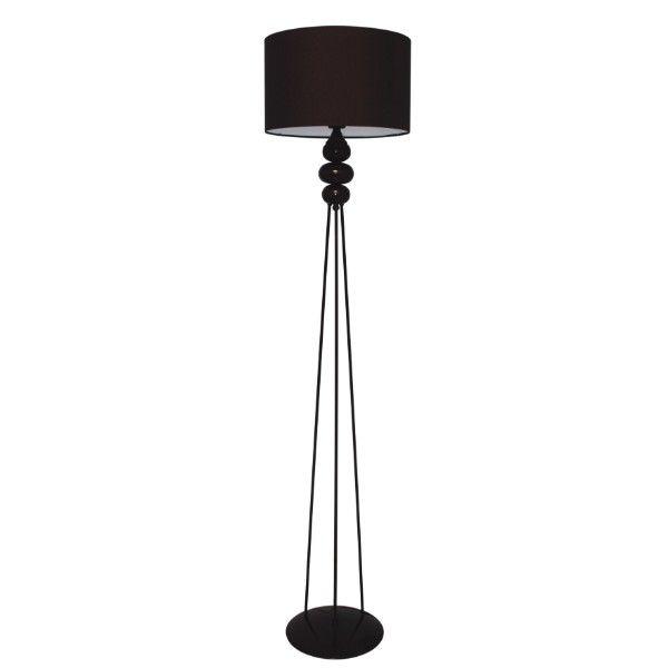 Czarna lampa podłogowa Ibis - trójnóg, nowoczesna
