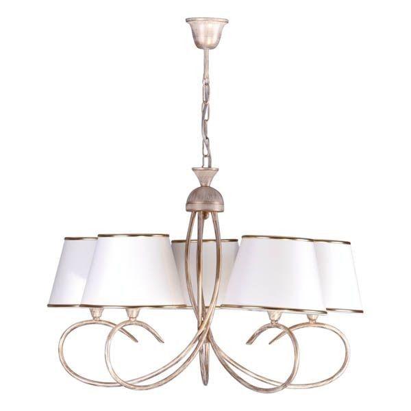 luksusowy żyrandol złoty z białymi abażurami