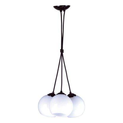 lampa wisząca czarna z białymi szklanymi kulami