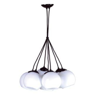 Lampa wisząca Ringo - 7 szklanych kloszy, czarne zawieszenie, nowoczesna