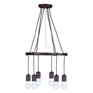 Czarny żyrandol Serena - 6 zwisów, nowoczesny, industrialny