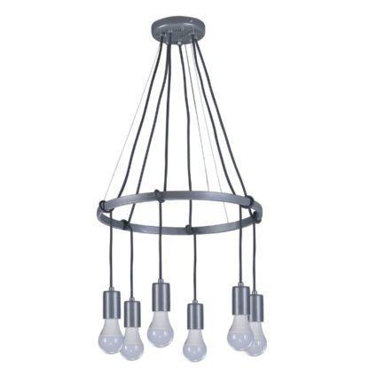 srebrny żyrandol industrialny design
