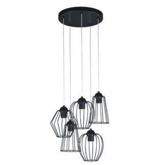 Czarna lampa wisząca Belt - 5 ażurowych kloszy z metalu