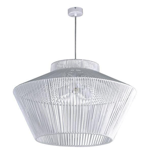 biała lampa wisząca z dużym kloszem ze sznurka