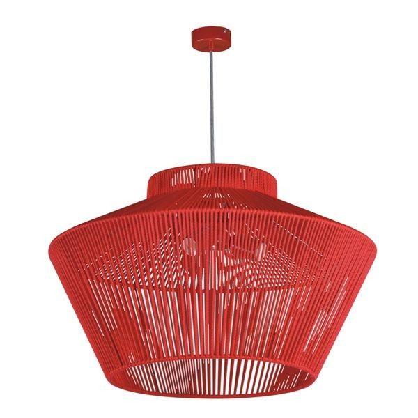 duża lampa wisząca czerwona nowoczesna aranżacja