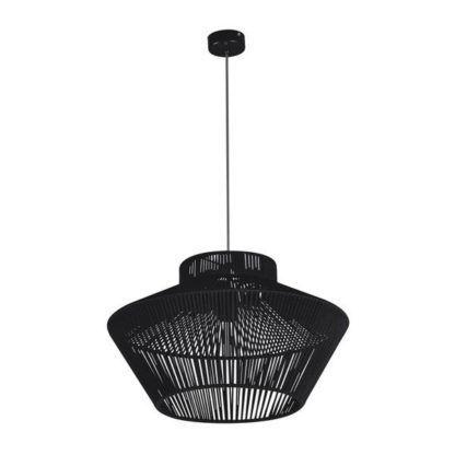 czarna lampa wisząca druciak ze sznurka