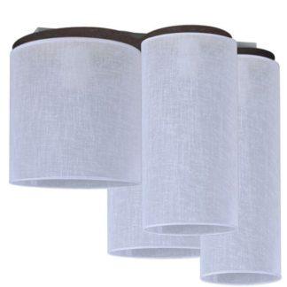 Efektowna lampa sufitowa Aida - białe abażury, ciemnobrązowa podstawa
