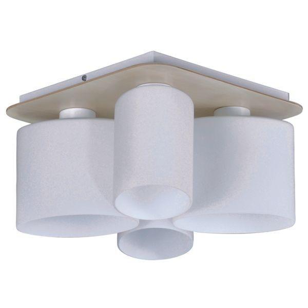 lampa sufitowa z drewnianą podstawą i jasnymi kloszami