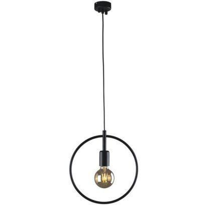 czarna lampa wisząca druciany okrąg