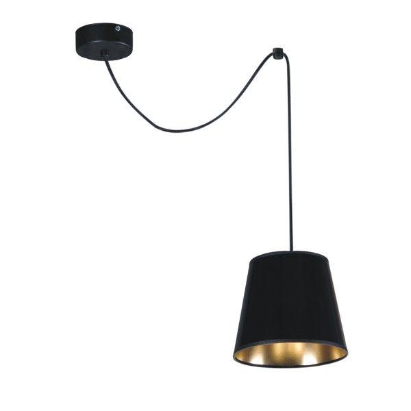 lampa wisząca czarny abażur złoty w środku glamour