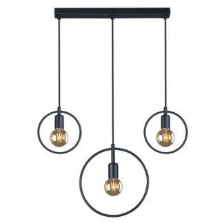 Potrójna lampa wisząca Tobik - okrągłe oprawy na żarówki, czarna