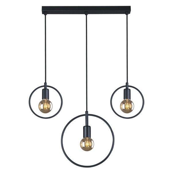 loftowa lampa wisząca, czarne okręgi