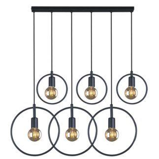 Designerka lampa wisząca Tobik - metalowe okręgi, czarna