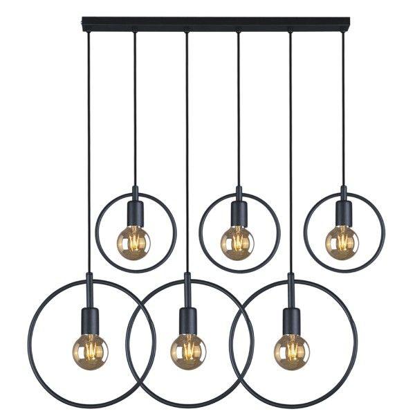lampa wisząca czarne metalowe okręgi