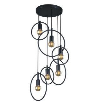 Efektowna lampa wisząca Tobik - okrągłe klosze na planie koła, czarna