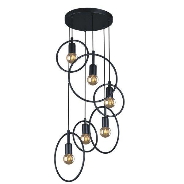 nowoczesna lampa wisząca, czarne okręgi z metalu