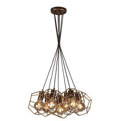 geometryczna lampa wisząca metalowa, złoto brąz
