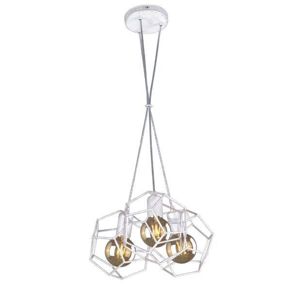 biało-srebrna lampa wisząca, druciak