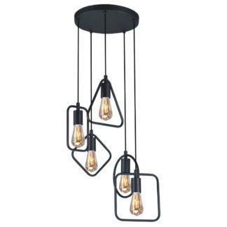Nowoczesna lampa wisząca Geo - ażurowe klosze z czarnych prętów