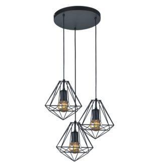 Skandynawska lampa wisząca Marko - okrągła, 3 klosze z drutów, czarna
