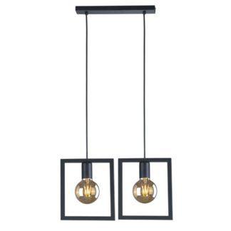 Podwójna lampa wisząca Lavaya - kwadratowe, czarne klosze, nowoczesna