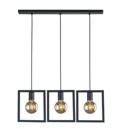metalowa geometryczna lampa wisząca czarna