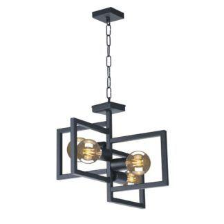 Designerska lampa wisząca Lavaya - czarny, metalowy klosz, na 4 żarówki