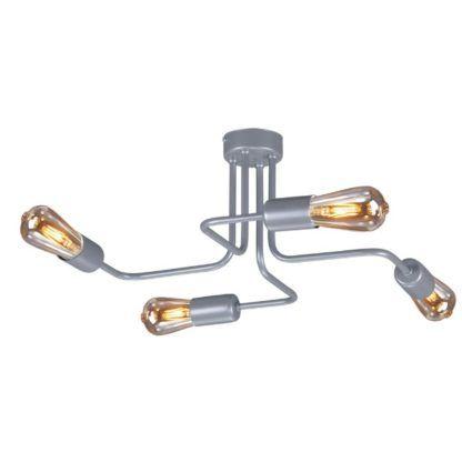szara, metalowa lampa sufitowa w stylu nowoczesnym industrialnym