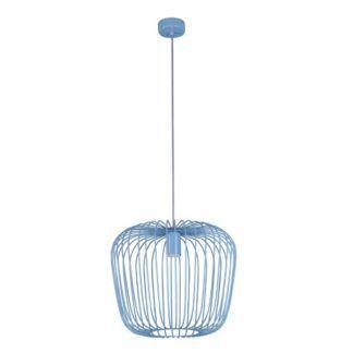 Niebieska lampa wisząca Eden - druciany klosz, nowoczesna