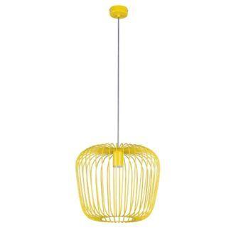 Nowoczesna lampa wisząca Eden - druciany, żółty klosz