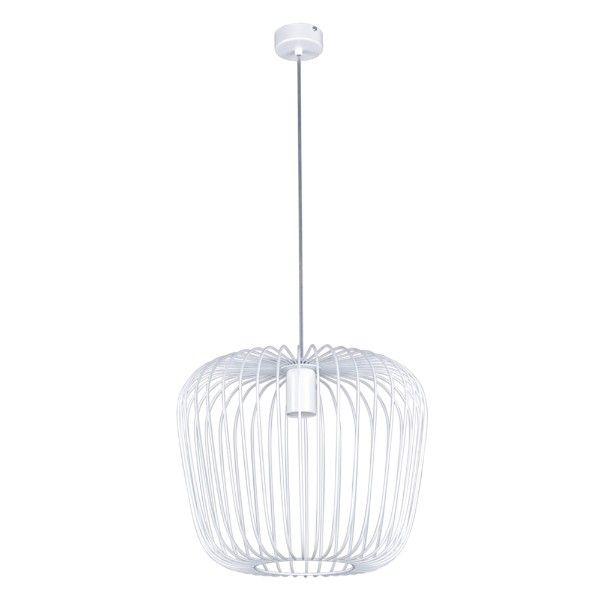 biała lampa wisząca ażurowa, druciana