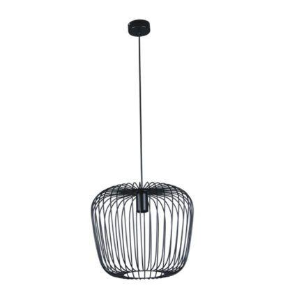 czarna, druciana lampa wisząca klatka na kanarka