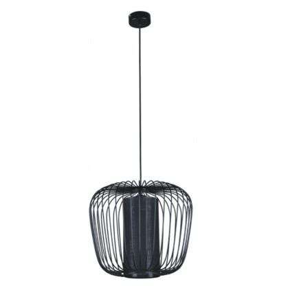czarna lampa druciana z dodatkowym abażurem