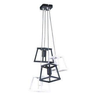 Designerska lampa wisząca Tower - białe i czarne klosze, metalowa