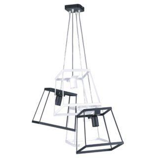 Duża lampa wisząca Tower - 4 metalowe, ażurowe klosze, czarno-biała