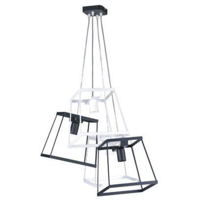 designerska, geometryczna lampa wisząca black&white