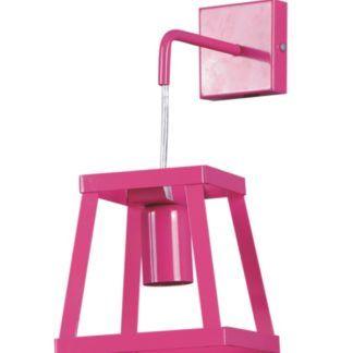 Różowy kinkiet Tedy - metalowy, ażurowy klosz