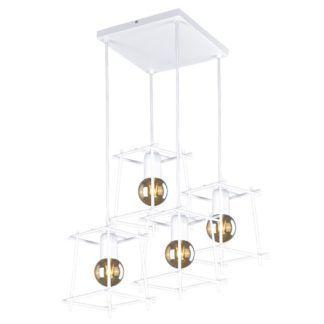 Geometryczna lampa wisząca Alda - białe, metalowe klosze