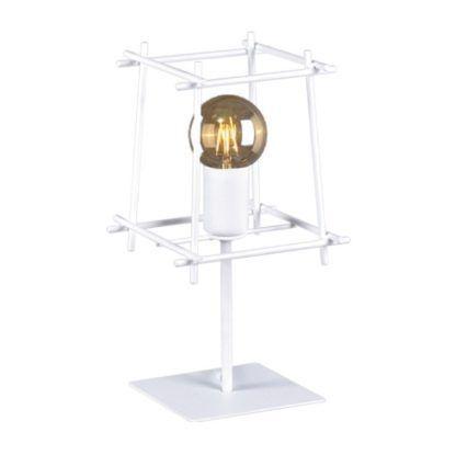 Biała lampa stołowa Alda - geometryczny, ażurowy klosz