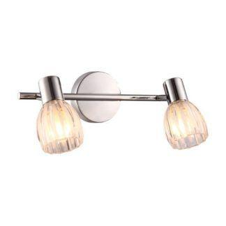 Klasyczny kinkiet Embo - dwa szklane klosze, srebrna podstawa