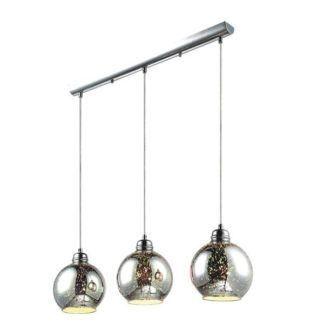 Połyskująca lampa wisząca Galaxy - srebrne, szklane klosze, nowoczesna