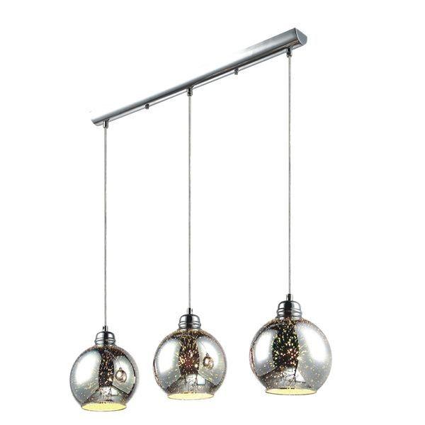 szklana lampa wisząca trzy klosze na linkach