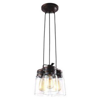 Industrialna lampa wisząca Raven - szklane klosze, czarne zawieszenie