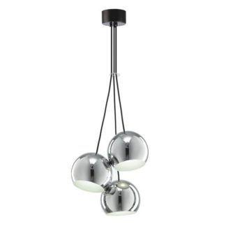 Nowoczesna lampa wisząca Mamia - 3 srebrne klosze, chrom