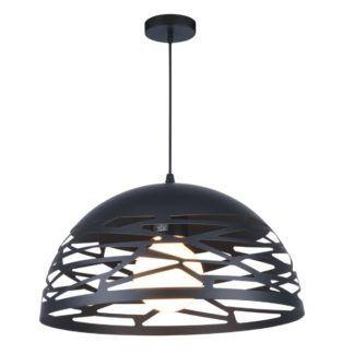 Nowoczesna lampa wisząca Kiti - czarny, ażurowy klosz