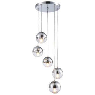 Nowoczesna lampa wisząca Layla - szklane klosze, chrom